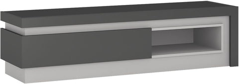 Lyon Platinum and Light Grey Gloss TV Cabinet - Open Shelf 1 Drawer (Including LED Lighting)
