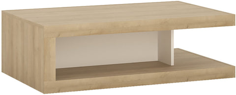 Lyon Riviera Oak and White High Gloss Designer Coffee Table On Wheels