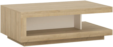 Lyon Riviera Oak and White High Gloss Designer Coffee Table