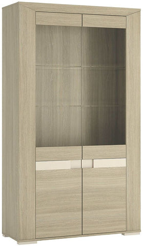 Madras Champagne Melamine Glazed Display Cabinet - Tall Wide 4 Door