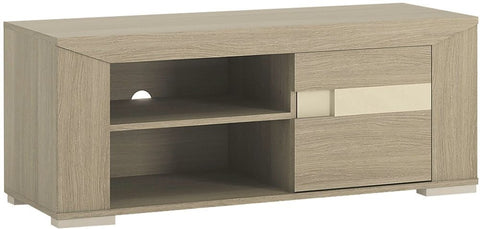 Madras Champagne Melamine TV Cabinet - 1 Door with Open Shelves
