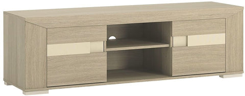 Madras Champagne Melamine TV Unit - Wide 2 Door with Open Shelf