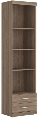 Park Lane Oak and Champagne Tall Bookcase - Narrow 2 Drawer