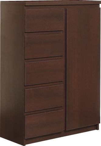 Pello Dark Mahogany Hall Cabinet - 1 Door 5 Drawer