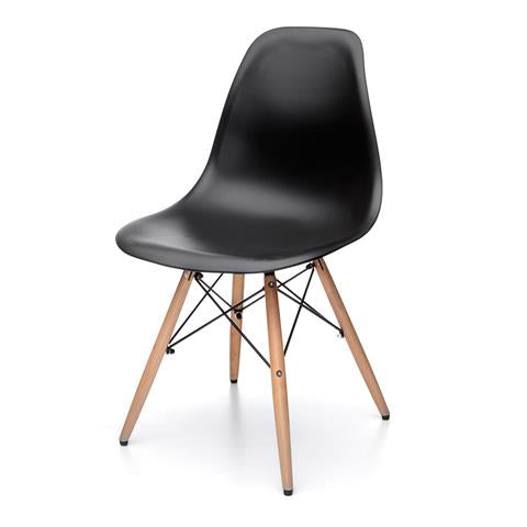 Core Products Aspen Black Plastic Chair with Wooden Legs Metal Cross Rails