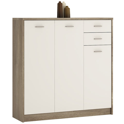 4 You Tall 3 Door 2 Drawer Cupboard in Canyon Grey / Pearl White