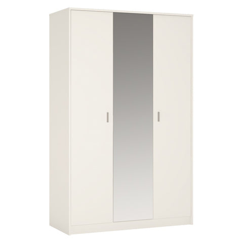 4 You 3 door wardrobe (inc mirror) in Pearl White
