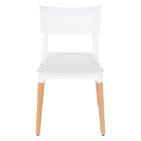Core Products Aspen White Plastic Chair with Wooden Legs
