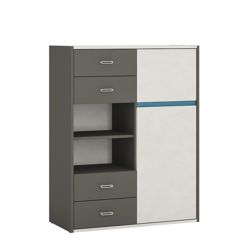 Alien 2 Door 4 Drawer storage cabinet with open shelf in Graphite/Light grey