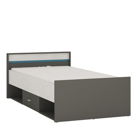 Alien Single Bed with drawer and open storage in Graphite/Light grey