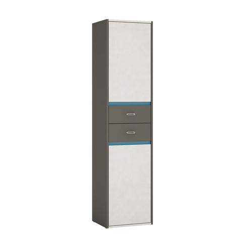 Alien Tall Narrow 2 Door 2 Drawer Cupboard in Graphite/Light grey