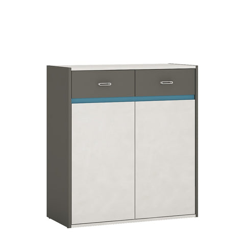 Alien 2 Door 2 Drawer Cabinet in Graphite/Light grey