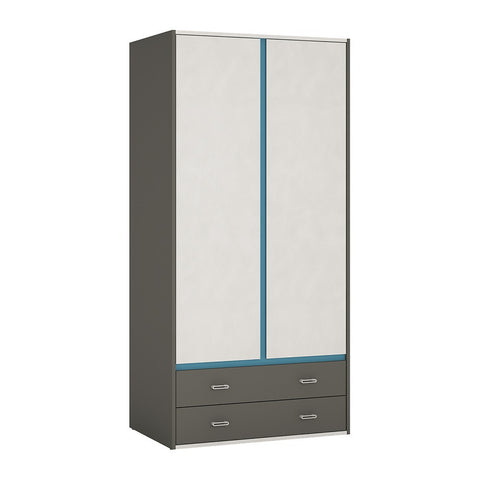 Alien 2 Door 2 Drawer Wardrobe in Graphite/Light grey