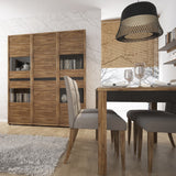 Messina Dark Oak and Chocolate Glazed Display Cabinet - Tall Wide 4 Door