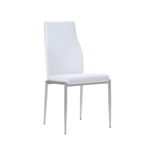 Milan High Back Chair White Faux Leather. Set of 2