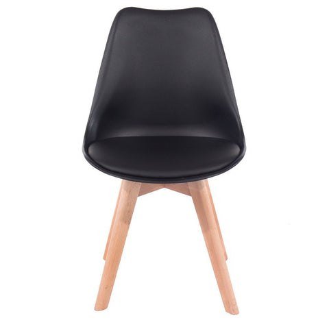 Core Products Black Upholstered Plastic Chair, Wood Legs