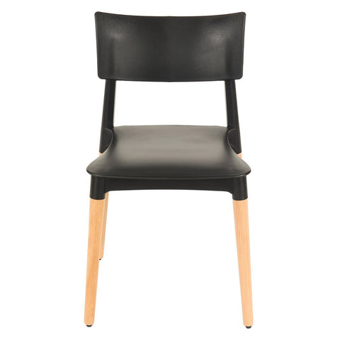 Core Products Aspen Black Plastic Chair with Wooden Legs