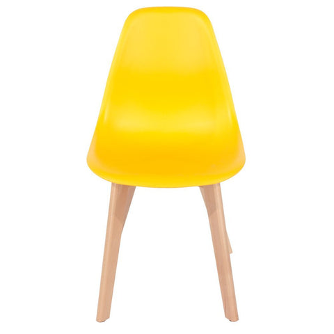 Core Products Aspen Yellow Plastic Chair with Wooden Legs