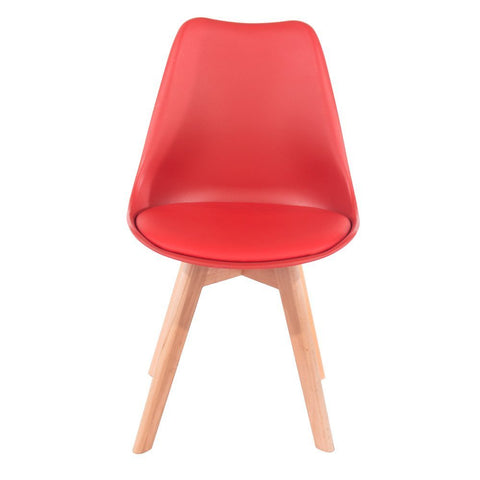 Core Products Red Upholstered Plastic Chair, Wood Legs