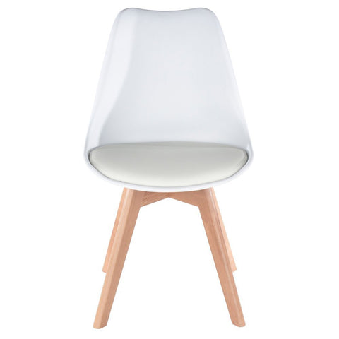 Core Products White Upholstered Plastic Chair, Wood Legs
