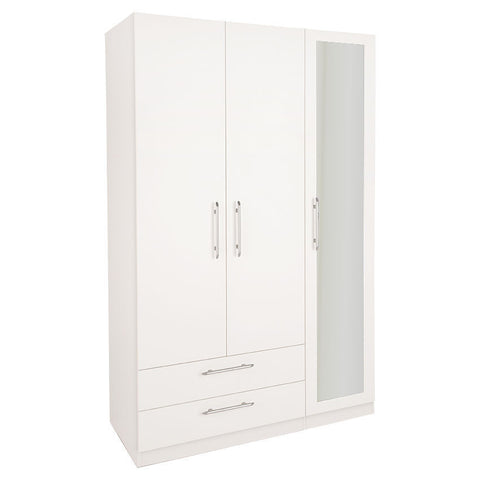 Acton 3 Door 2 Wide Drawer Mirror Wardrobe