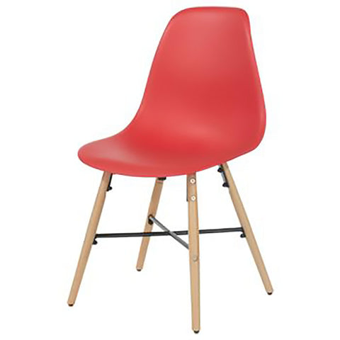 Core Products Aspen Red Plastic Chair with Wooden Legs Metal Cross Rails