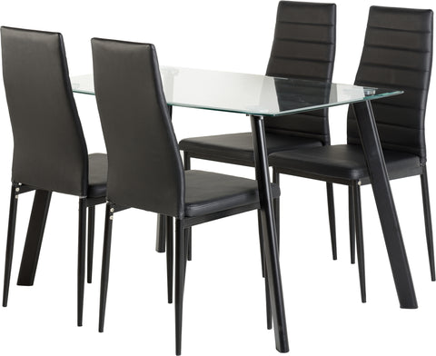 Seconique Abbey Dining Set In Black