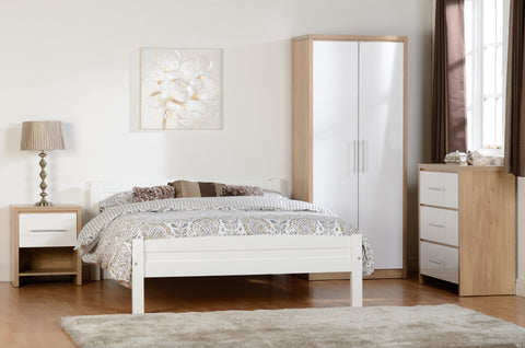 Seconique Amber Double Bed Frame in White