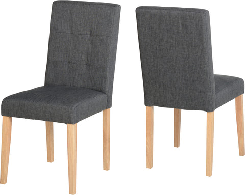 Seconique Aspen Pair of Chairs in Dark Grey Fabric