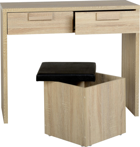 Seconique Cambourne 2 Drawer Dressing Table Set - Sonoma Oak Effect Veneer/Black PVC