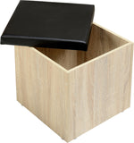 Seconique Cambourne Storage Stool - Sonoma Oak Effect Veneer/Black PVC