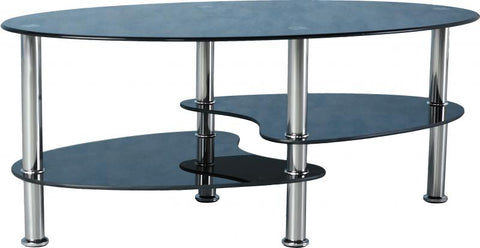 Seconique Cara Coffee Table - Black Glass/Silver