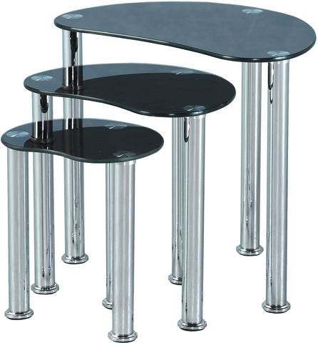 Seconique Cara Nest of Tables - Black Glass/Silver