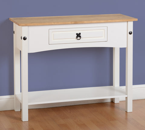Seconique Corona 1 Drawer Console Table with Shelf in White/Distressed Waxed Pine