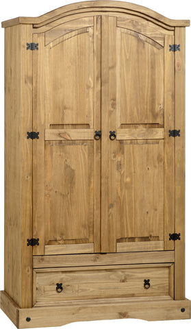 Seconique Corona 2 Door 1 Drawer Wardrobe - Distressed Waxed Pine