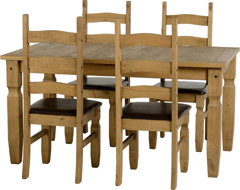 Seconique Corona 5ft Dining Set with Brown Seat Pads