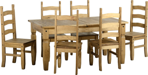 Seconique Corona Extending Dining Set 16 - Distressed Waxed Pine