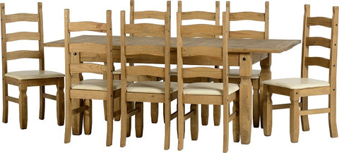 Seconique Corona Extending Dining Set 18 - Distressed Waxed Pine/Cream PU
