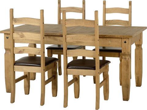 Seconique Corona Extending Dining Set with Brown Seat Pads
