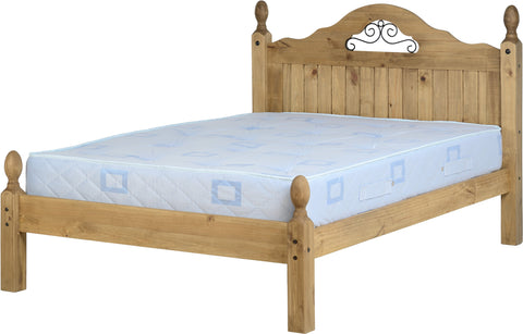 "Seconique Corona Scroll 4'6"" Bed Low Foot End - Distressed Waxed Pine"
