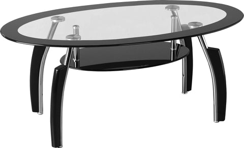 Seconique Elena Coffee Table - Clear Glass/Black Border/Black Glass/Silver/Black