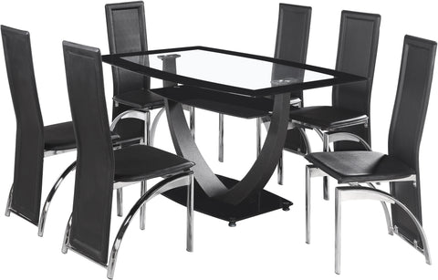 Seconique Henley 6 Seat Dining Set in Clear Glass and Black