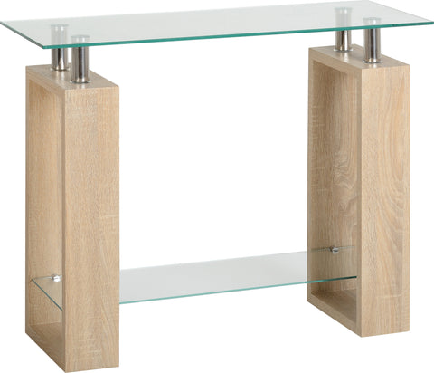 Seconique Milan Console Table in Sonoma Oak Effect Veneer/Clear Glass/Silver