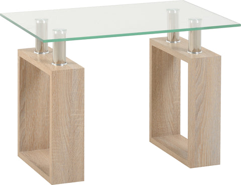 Seconique Milan Lamp Table in Sonoma Oak Effect and Glass