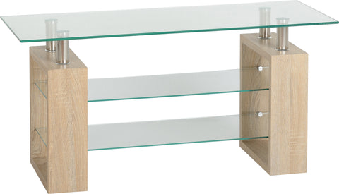 Seconique Milan TV Unit in Sonoma Oak Effect Veneer/Clear Glass/Silver