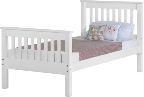 Seconique Monaco Single Bed Frame High Foot End in White