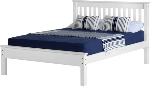 Seconique Monaco Double White bed Frame with Low Foot End