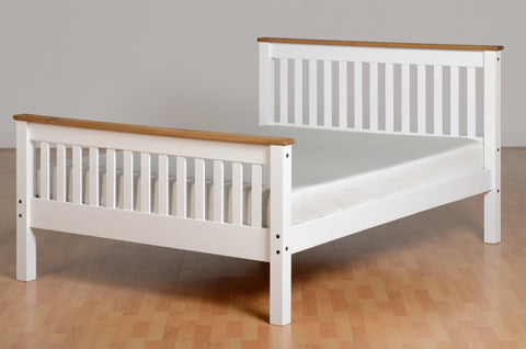 Seconique Monaco Double Bed in White and Pine