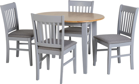Seconique Oxford Extending Dining Set in Grey/Natural Oak/Grey Fabric