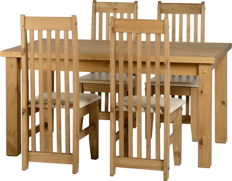 Seconique Tortilla Dining Set with 4 Cream Dining Chairs